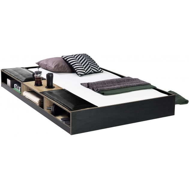 Выдвижная кровать с полочками Cilek Black